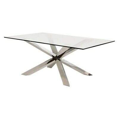 """78.8"""" L Leah Dining Table Tempered Glass Polished Stainless Steel Modern  Base 