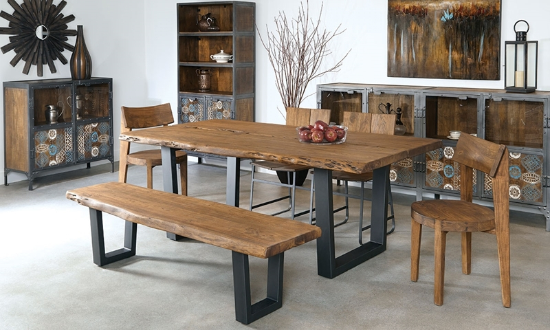 79 Inch Live Edge Solid Acacia Dining Table | Haynes Furniture For Solid Acacia Wood Dining Tables (Image 3 of 25)