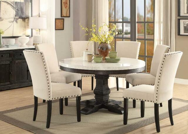 7Pc Lucia White Marble Top Weathered Black Wood Round Pedestal Dining Table  Set Pertaining To Dining Tables With White Marble Top (Image 2 of 25)