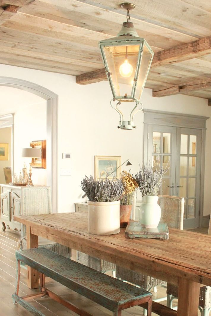 8 French Country Kitchen Decorating Ideas With Blues Pertaining To Provence Accent Dining Tables (Image 1 of 25)