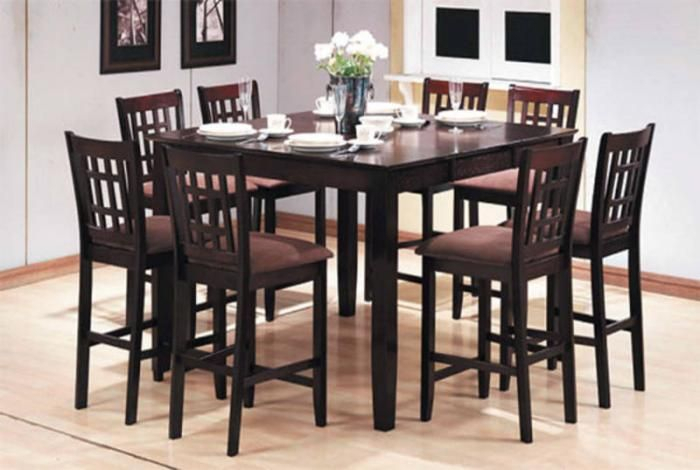 8 Seat Pub Table | Pc Pub Style Dining Set (Table + 8 Chairs For Transitional 4 Seating Drop Leaf Casual Dining Tables (Image 4 of 25)