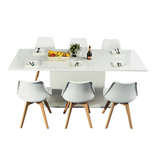 8 Seater Wood Contemporary Homes Dining Table For Kitchen Room With  Extension Leaf With 8 Seater Wood Contemporary Dining Tables With Extension Leaf (View 2 of 25)