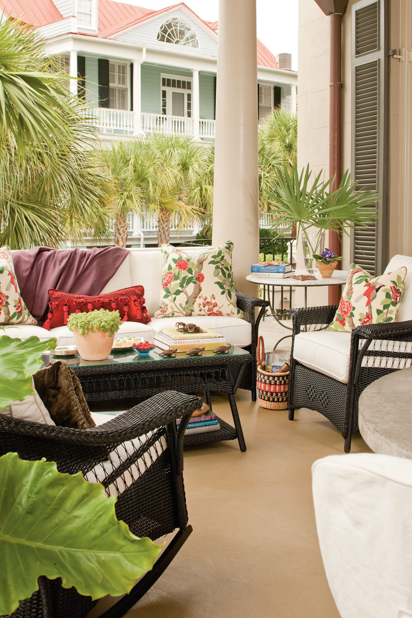 80 Breezy Porches And Patios Regarding Outdoor Wicker Plastic Half Moon Leaf Shape Porch Swings (View 16 of 25)