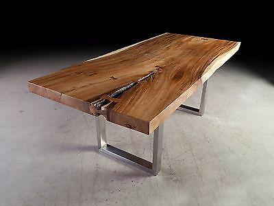 """84"""" Long Dining Table Solid Acacia Wood Slab Top Iron Leg Intended For Acacia Wood Top Dining Tables With Iron Legs On Raw Metal (View 19 of 25)"""