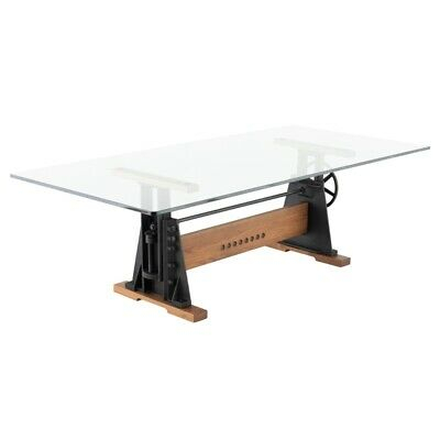 """94.5"""" L Dining Table Tempered Glass Top Hard Fumed Oak Base Recycled Cast  Iron 