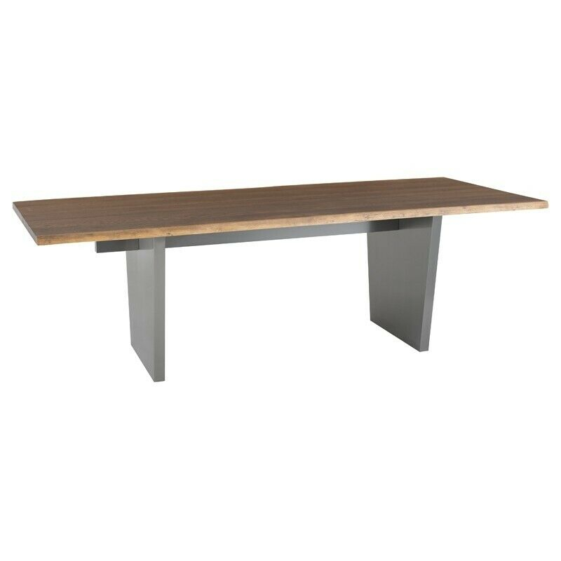 "96"" L Otis Dining Table Seared Solid Oak Top Brushed Stainless Steel Base 