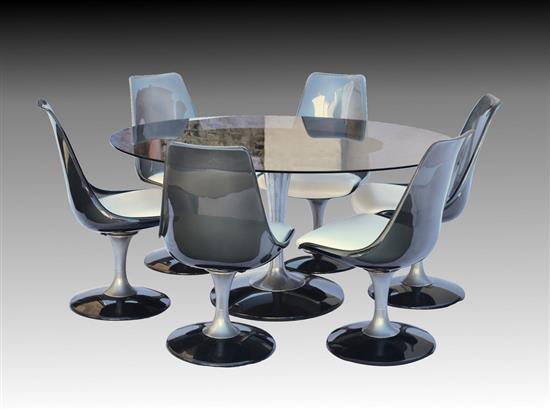 A 1970S Chromecraft Saarinen Tulip Dining Table Set The Oval In Smoked Oval Glasstop Dining Tables (View 7 of 25)