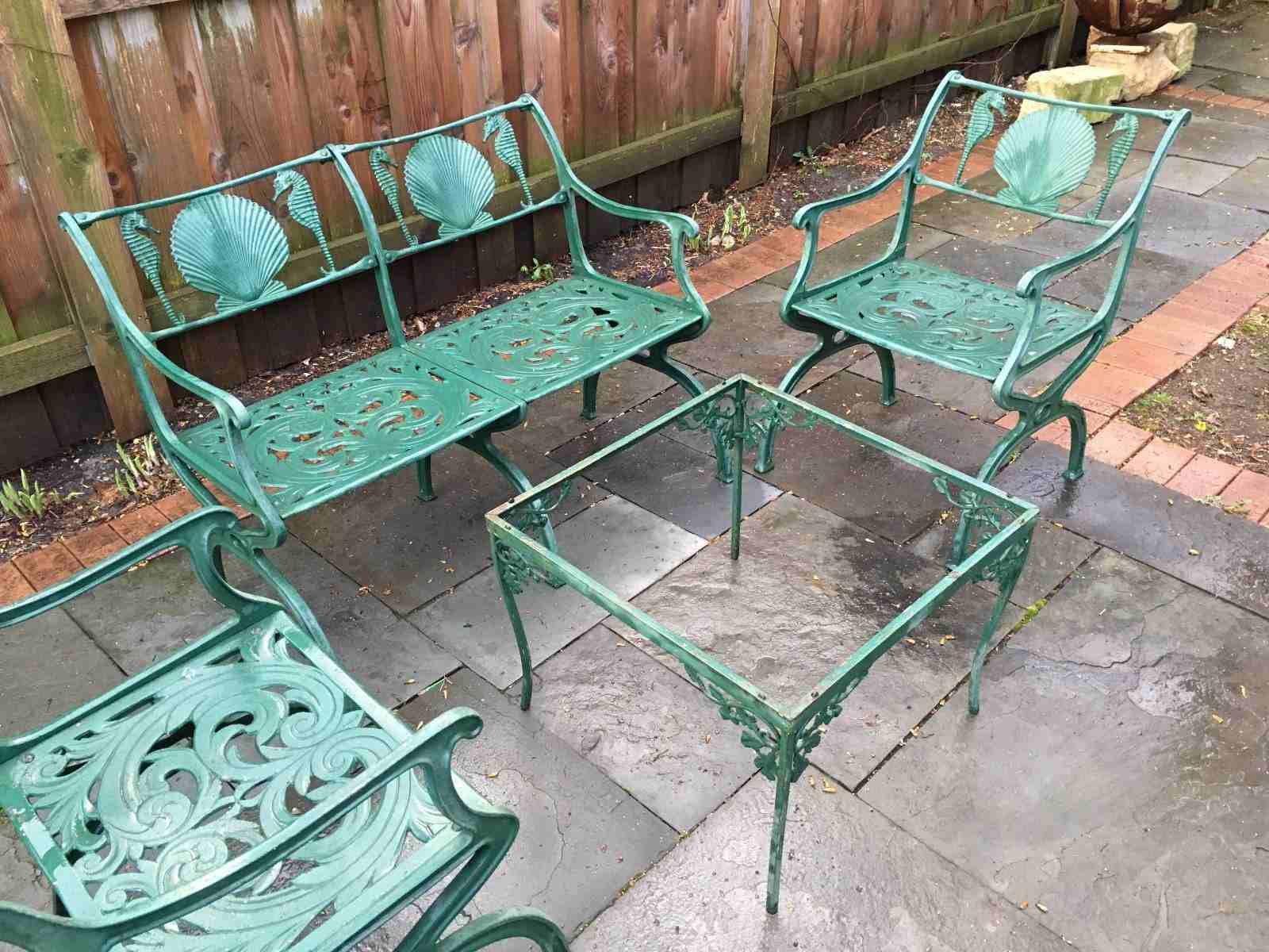 A Guide To Buying Vintage Patio Furniture Regarding 2 Person Antique Black Iron Outdoor Swings (View 16 of 25)