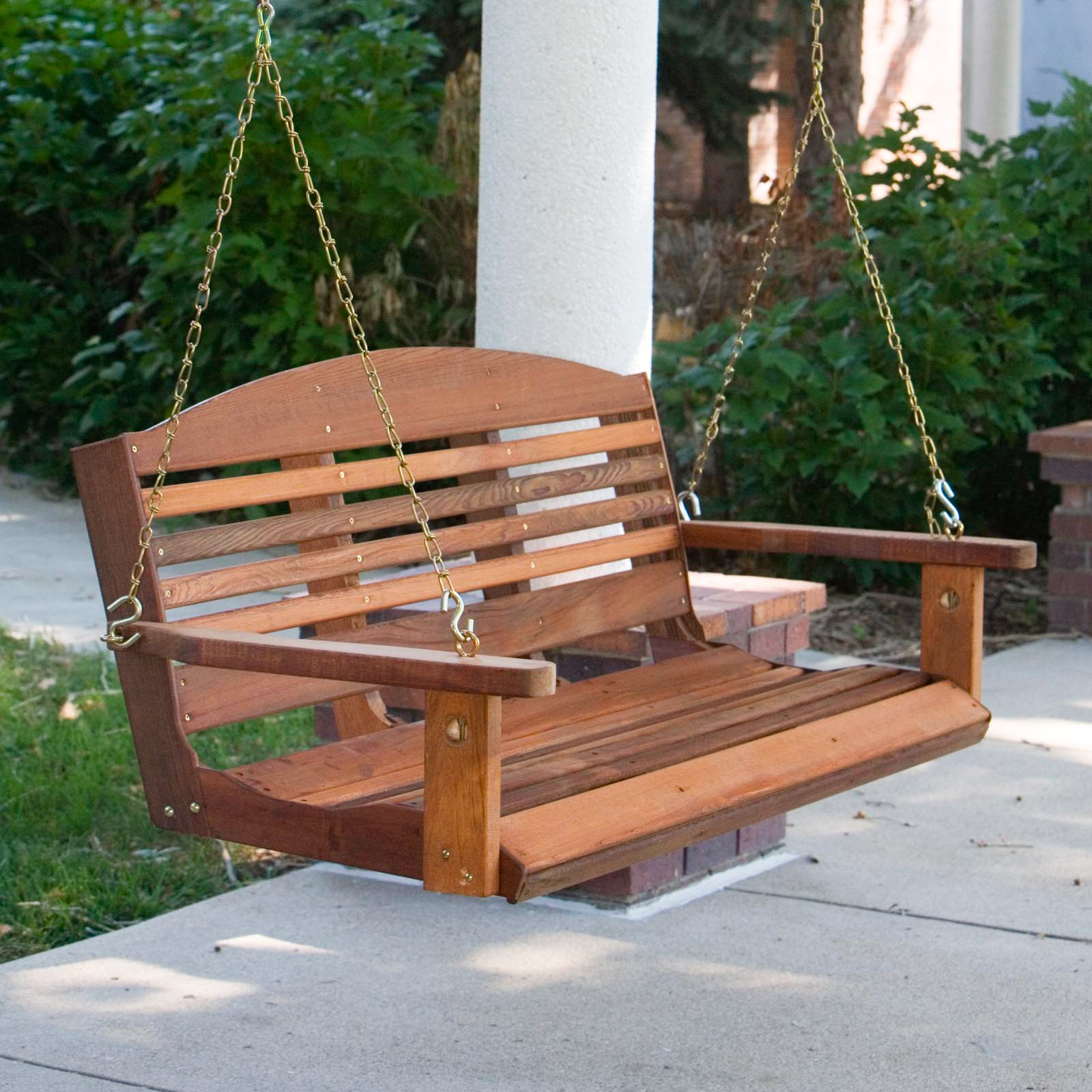 A & L Furniture Western Red Cedar Classic Curved Back With A4 Ft Cedar Pergola Swings (Image 8 of 25)