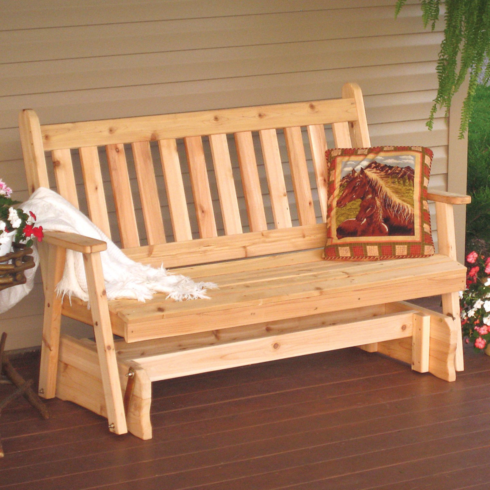 A & L Furniture Western Red Cedar Traditional English Pertaining To 2 Person Natural Cedar Wood Outdoor Gliders (Image 4 of 25)