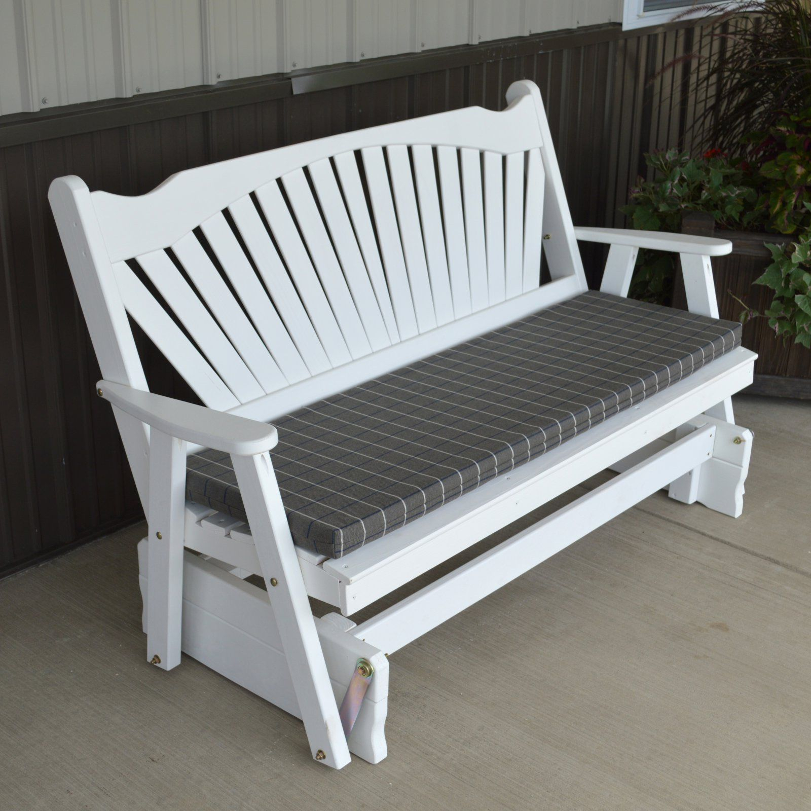 A & L Furniture Yellow Pine Fanback Outdoor Bench Glider Oak Regarding Fanback Glider Benches (View 5 of 25)