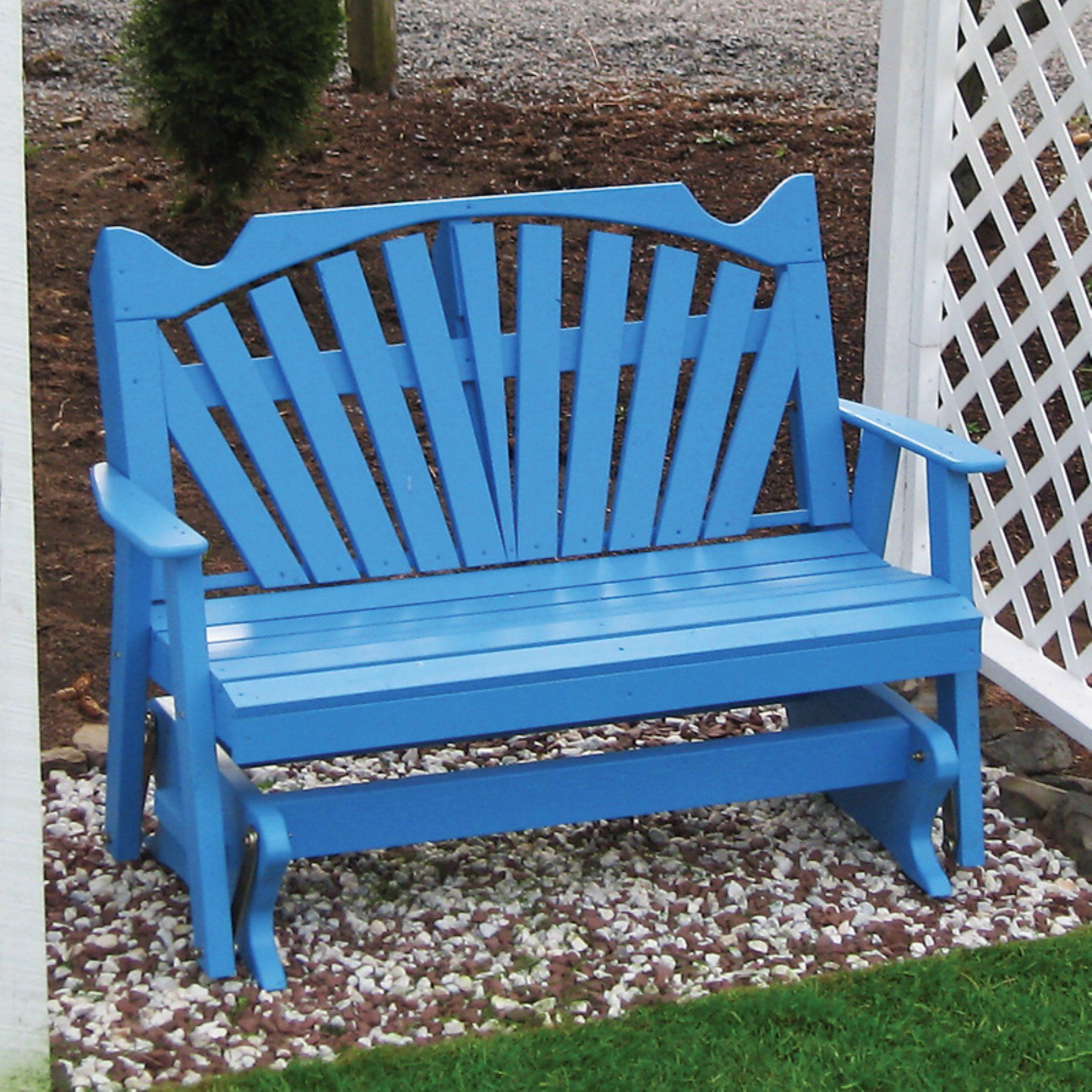 A & L Furniture Yellow Pine Fanback Outdoor Bench Glider With Fanback Glider Benches (View 7 of 25)