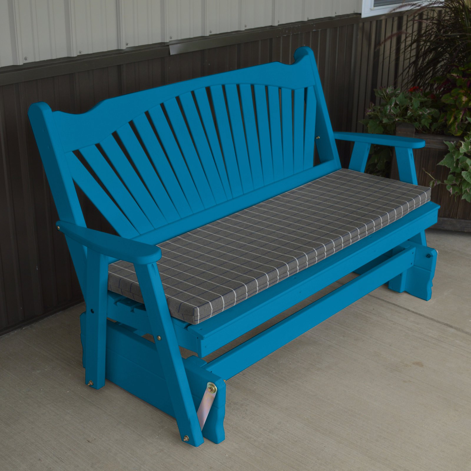 A & L Furniture Yellow Pine Fanback Outdoor Bench Glider With Regard To Fanback Glider Benches (View 4 of 25)