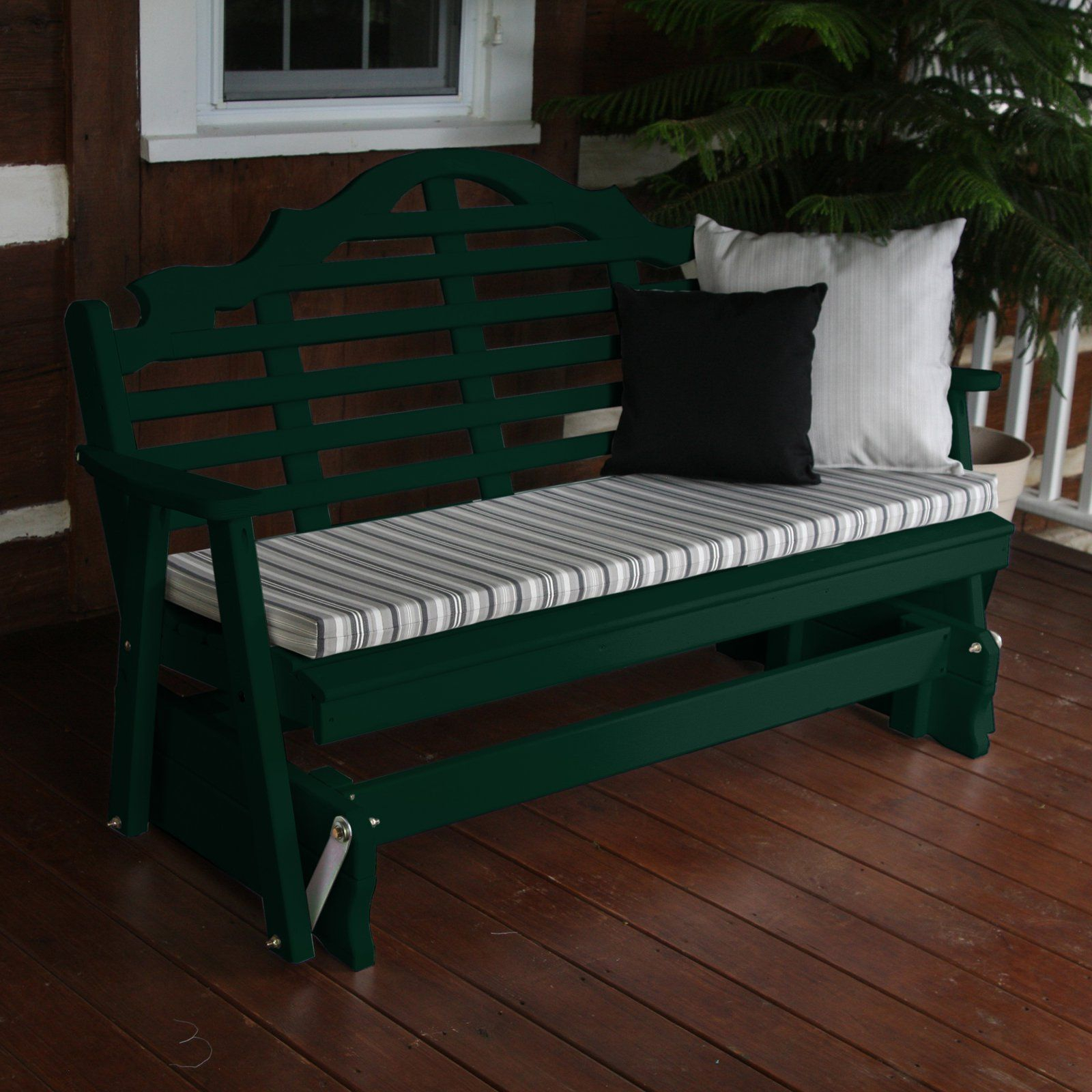 A & L Furniture Yellow Pine Marlboro Outdoor Bench Glider Intended For Cedar Colonial Style Glider Benches (View 2 of 25)
