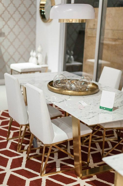 A Simple Yet Exquisite White Marble Dining Table With With Regard To Dining Tables With Brushed Gold Stainless Finish (Image 5 of 25)