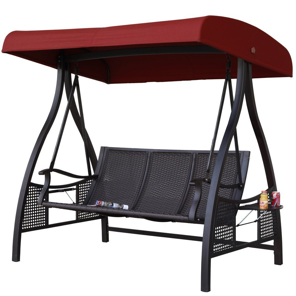 Abba Patio 3 Person Outdoor Metal Gazebo Padded Porch Swing In Outdoor Canopy Hammock Porch Swings With Stand (View 11 of 25)