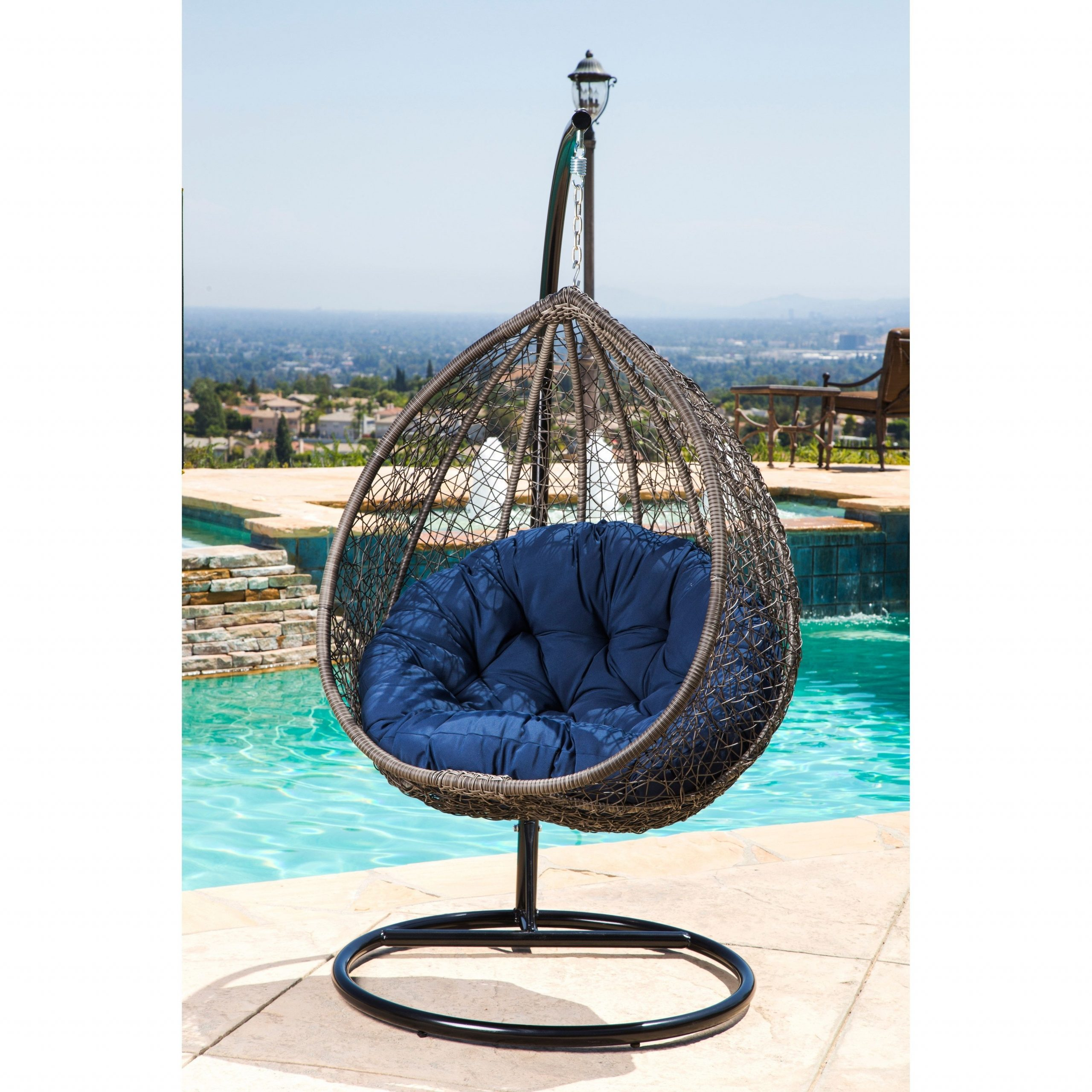 Abbyson Newport Outdoor Wicker Patio Swing Chair (Brown/blue Intended For Outdoor Wicker Plastic Tear Porch Swings With Stand (View 19 of 25)