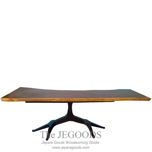 Abstract Wood Slab Iron Leg Root Table Rustic Urban Throughout Iron Wood Dining Tables With Metal Legs (View 25 of 25)