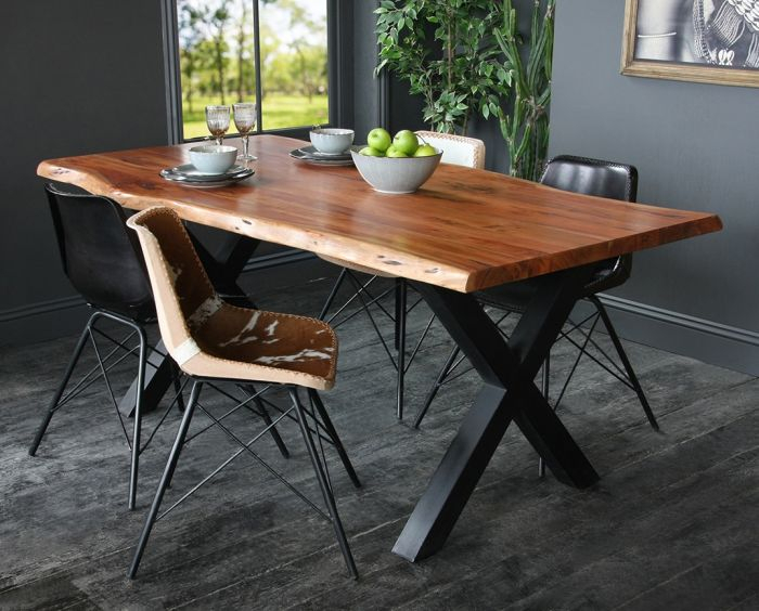 Acacia Dining Table With Natural Edge And Black Metal Cross Leg Base Regarding Acacia Top Dining Tables With Metal Legs (Image 3 of 25)