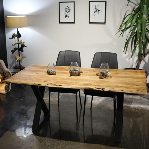 Acacia Live Edge 67'' Dining Table With Black X Legs Pertaining To Acacia Dining Tables With Black X Leg (Image 7 of 25)