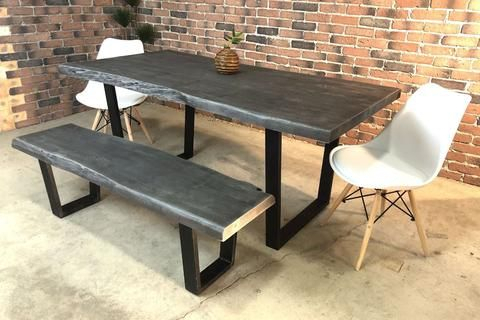 Acacia Live Edge Dining Table With Black U Shaped Legs/grey Within Dining Tables With Black U Legs (View 8 of 25)