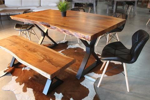 Acacia Live Edge Dining Table With Black X Shaped Legs In Acacia Top Dining Tables With Metal Legs (Image 4 of 25)
