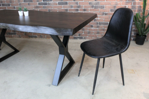 Acacia Live Edge Dining Table With Black X Shaped Legs Pertaining To Acacia Dining Tables With Black X Leg (Image 9 of 25)