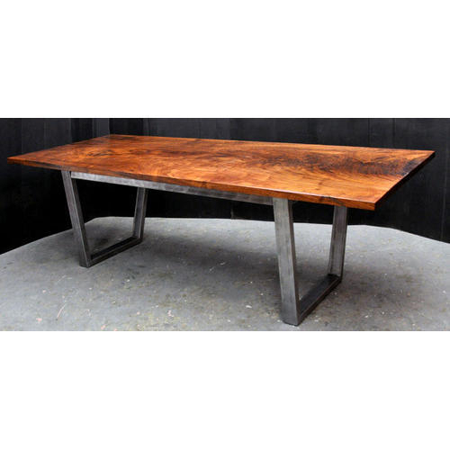 Featured Image of Acacia Wood Top Dining Tables With Iron Legs On Raw Metal