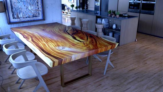 Acacia Wood Table, Live Edge Table, Monkey Pod Table | Rustic Farmhouse  Dining Table, Natural Solid Wood Coffee Table, Live Edge Tables For Unique Acacia Wood Dining Tables (Image 5 of 25)