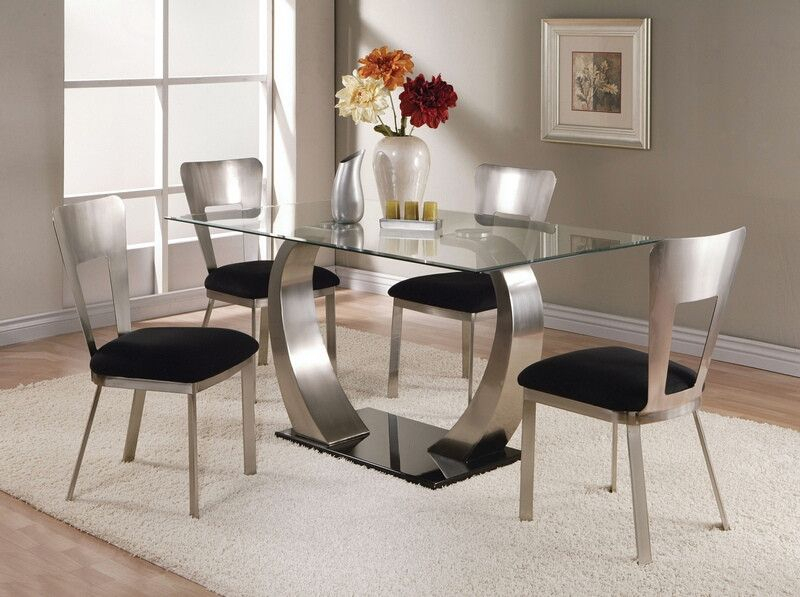 Acme 10090 93 5 Pc Camille Satin Metal Arched Base With Regard To Rectangular Glasstop Dining Tables (View 24 of 25)
