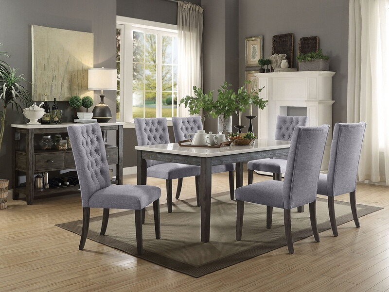 Acme 70165 68 7 Pc Merel White Marble Top Gray Oak Finish Wood Dining Table  Set Throughout Dining Tables With White Marble Top (Image 3 of 25)