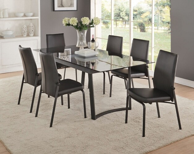 Acme 73155 57 7 Pc Osias Black Metal And Smoky Rectangular Glass Top Dining Table Set Intended For Rectangular Glass Top Dining Tables (View 16 of 25)