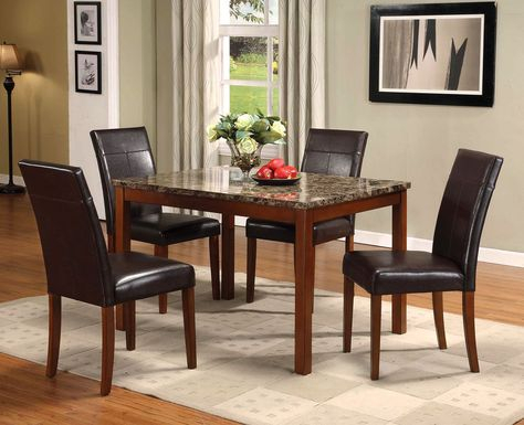 Acme Portland 5Pc Pack Dining Set, Brown Faux Marble Pertaining To Alamo Transitional 4 Seating Double Drop Leaf Round Casual Dining Tables (View 9 of 25)