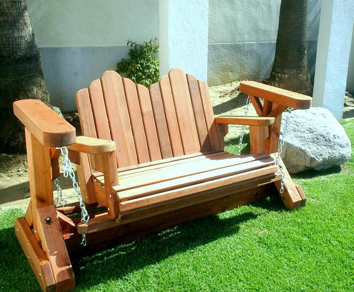 Adirondack Chain Gliders, Wood Adirondack Gliders Pertaining To Indoor/outdoor Double Glider Benches (View 19 of 25)