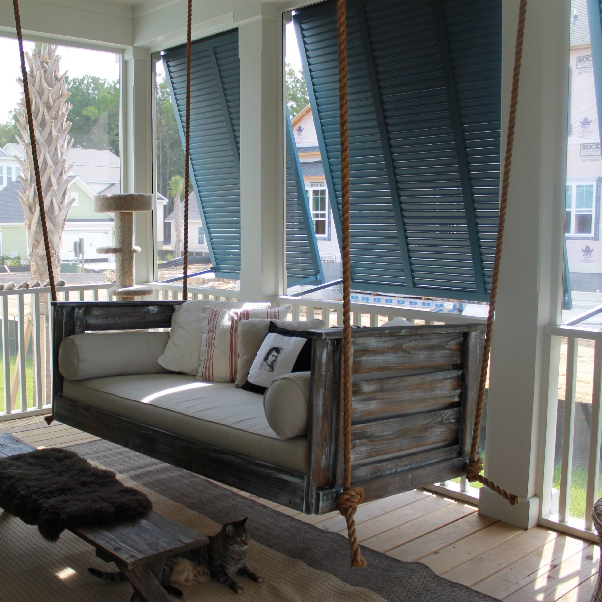 Agar Porch Swing In 2019 | Farmhouse Porch Swings, Vintage Within Hanging Daybed Rope Porch Swings (Image 5 of 25)