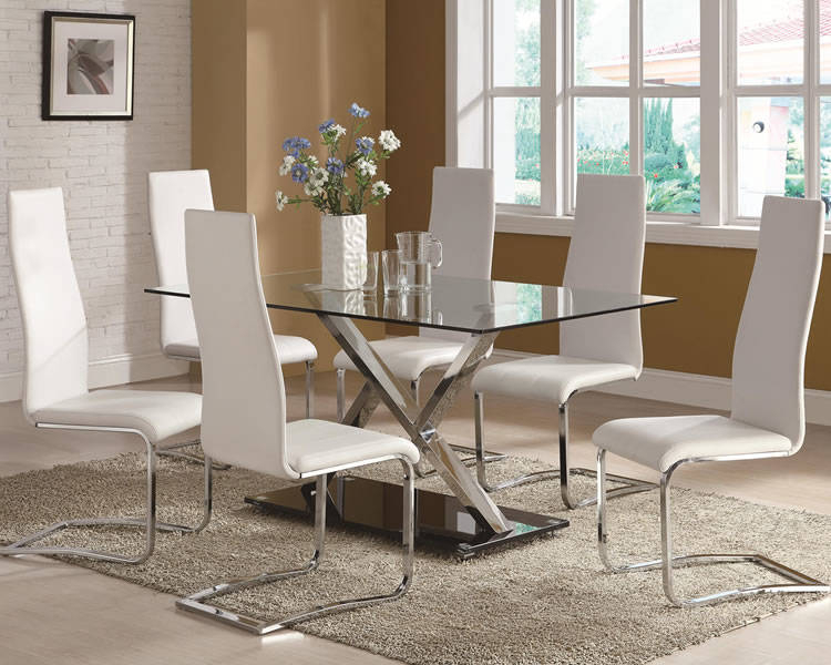 Agreeable Glass Dining Table Metal Legs And Black Base Six In Glass Dining Tables With Metal Legs (View 19 of 25)