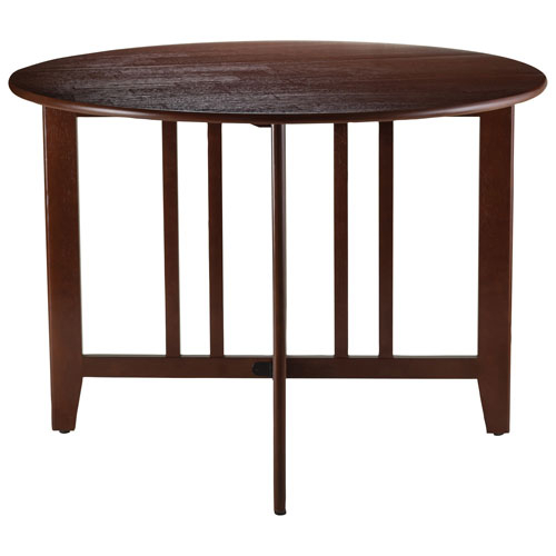 Alamo Transitional 4 Seating Double Drop Leaf Round Casual Dining Table – Antique Walnut Throughout Alamo Transitional 4 Seating Double Drop Leaf Round Casual Dining Tables (View 2 of 25)