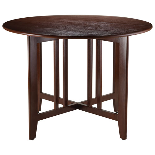 Alamo Transitional 4 Seating Double Drop Leaf Round Casual Dining Table – Antique Walnut With Transitional 4 Seating Square Casual Dining Tables (View 5 of 25)