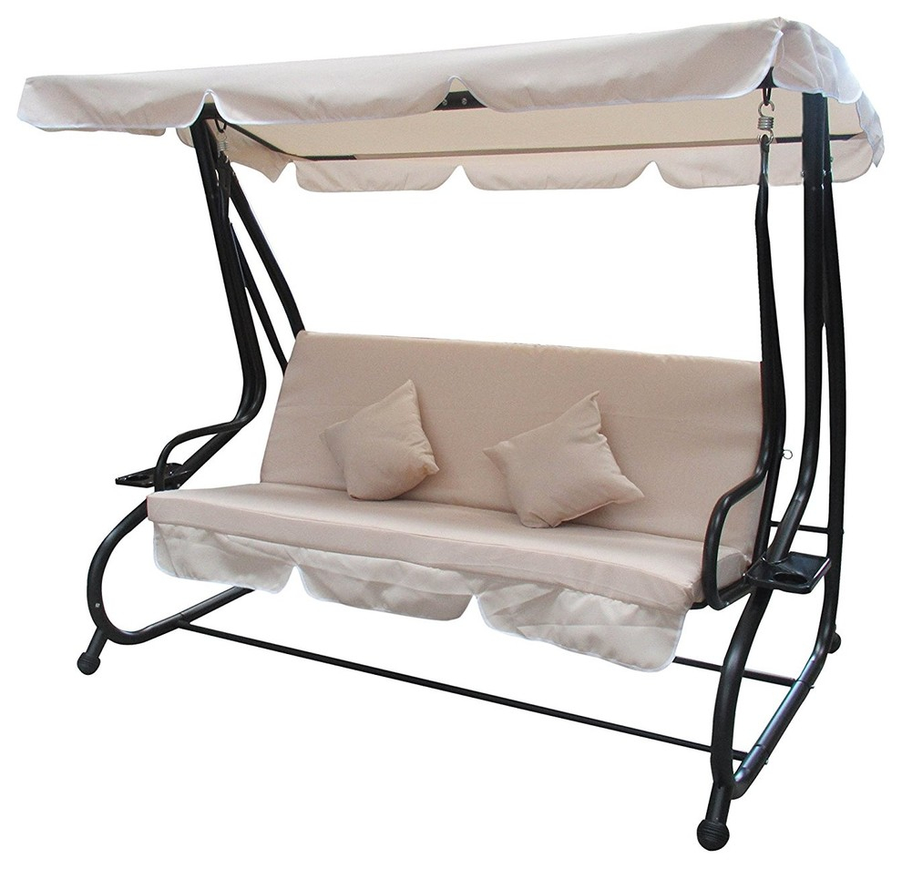 Aleko Canopy Patio Swing Bench With Pillows And Cup Holders, Beige Pertaining To Canopy Patio Porch Swings With Pillows And Cup Holders (View 2 of 25)