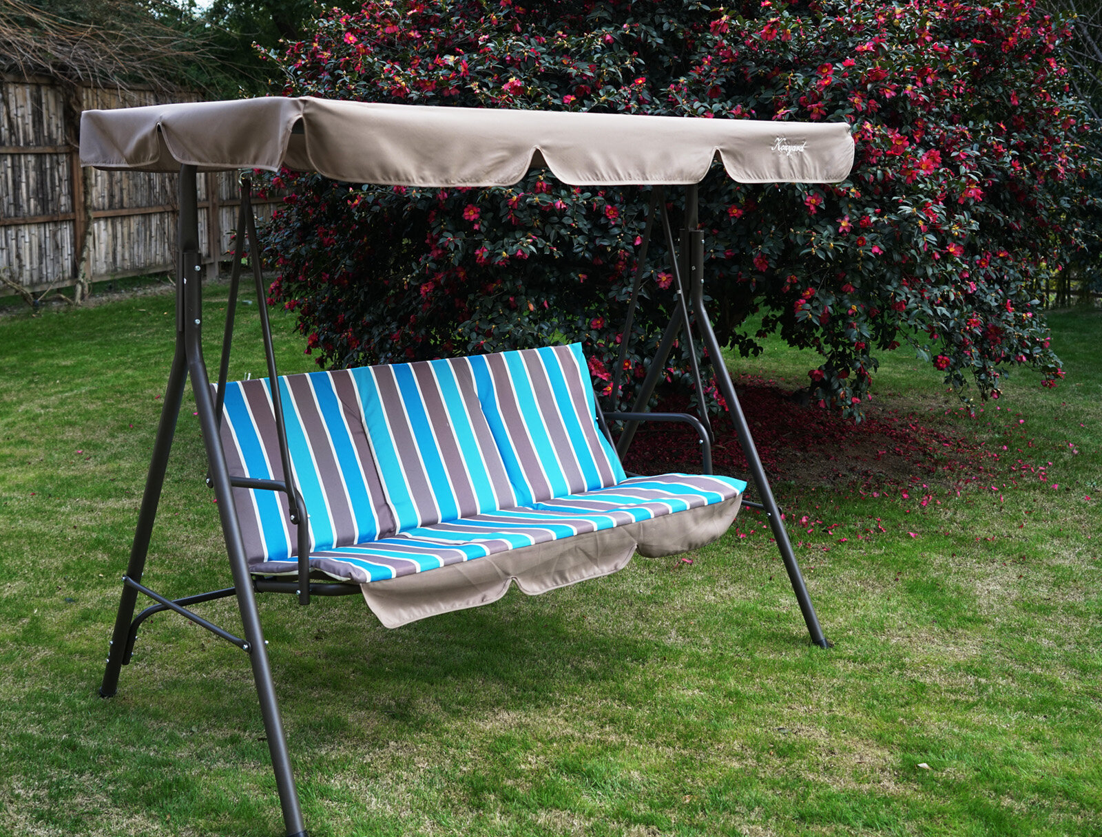 Alicia Patio Swing Chair With 3 Comfortable Cushion Seats And Strong Weather Resistant Powder Coated Steel Frame (Colour: Red Stripe) For 3 Person Red With Brown Powder Coated Frame Steel Outdoor Swings (View 7 of 25)