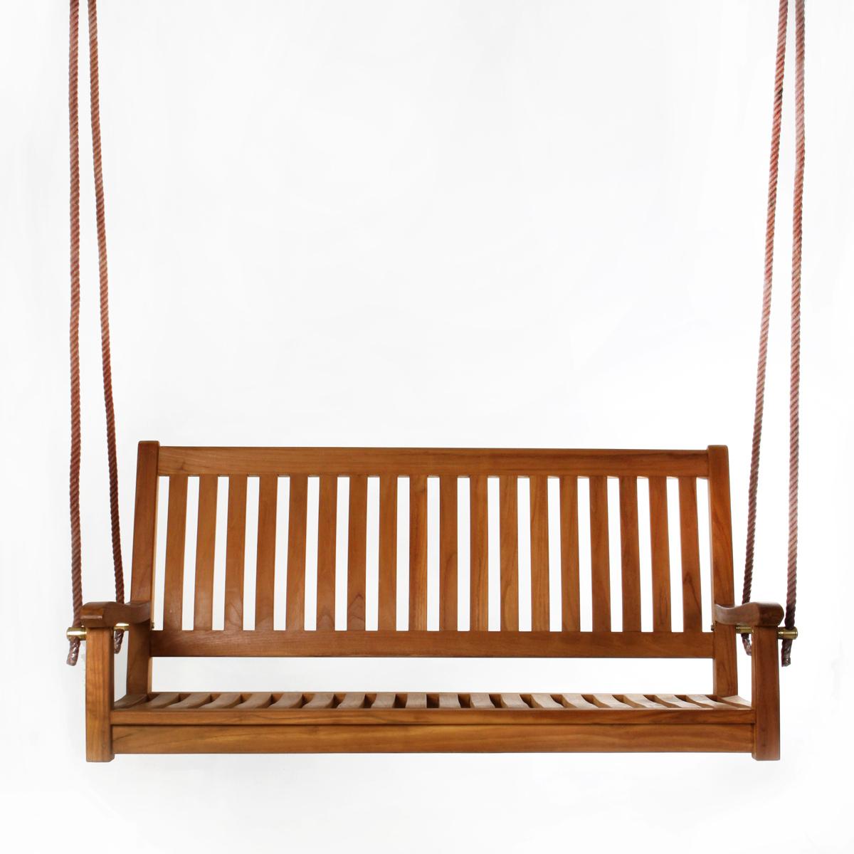 All Things Cedar 26 In X 54 In Brown Teak Swing Throughout 3 Person Light Teak Oil Wood Outdoor Swings (View 17 of 25)