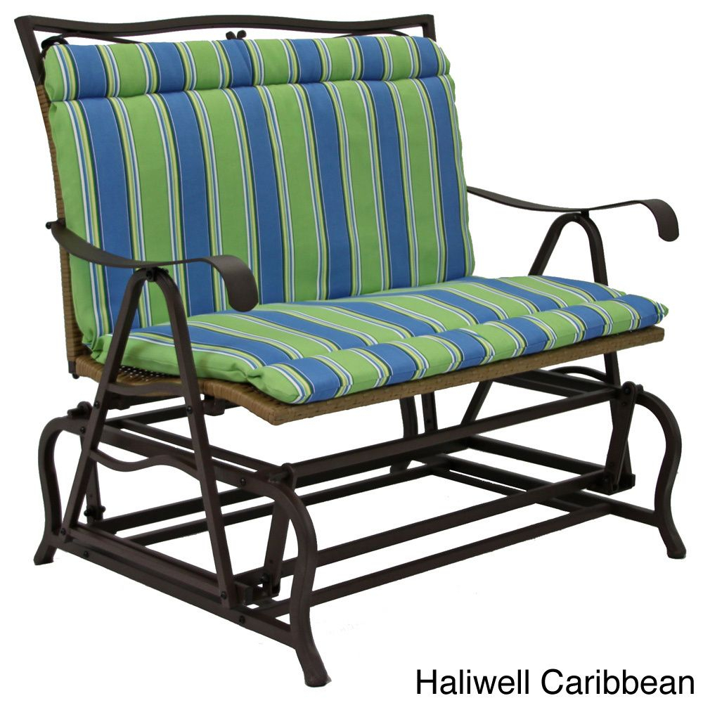 All Weather Blue Floral Outdoor Double Glider Chair Cushion Inside Indoor/outdoor Double Glider Benches (View 8 of 25)