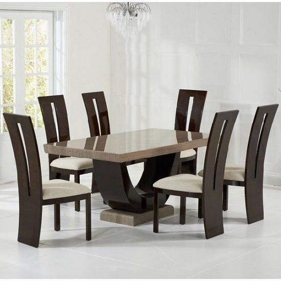 Allie Marble Dining Set In Brown With 6 Ophelia Cream Chairs Throughout Contemporary 6 Seating Rectangular Dining Tables (Photo 5 of 25)