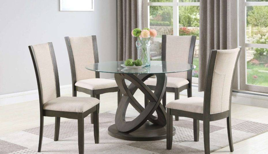Amazing Glass Top Dining Table Set Rooms Piece Chairs Gray Pertaining To Retro Round Glasstop Dining Tables (Image 2 of 25)