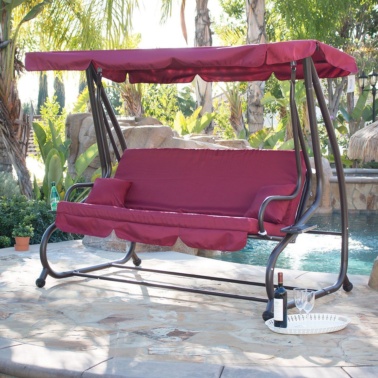 Amazon : Bellezza© Outdoor Canopy Porch Swing/bed Pertaining To Garden Leisure Outdoor Hammock Patio Canopy Rocking Chairs (View 4 of 25)