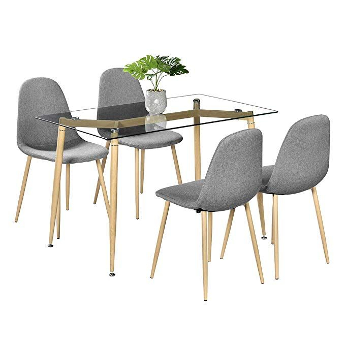 Amazon – Bonnlo 5 Pieces Dining Set Modern Dining Table Inside Eames Style Dining Tables With Chromed Leg And Tempered Glass Top (View 22 of 25)