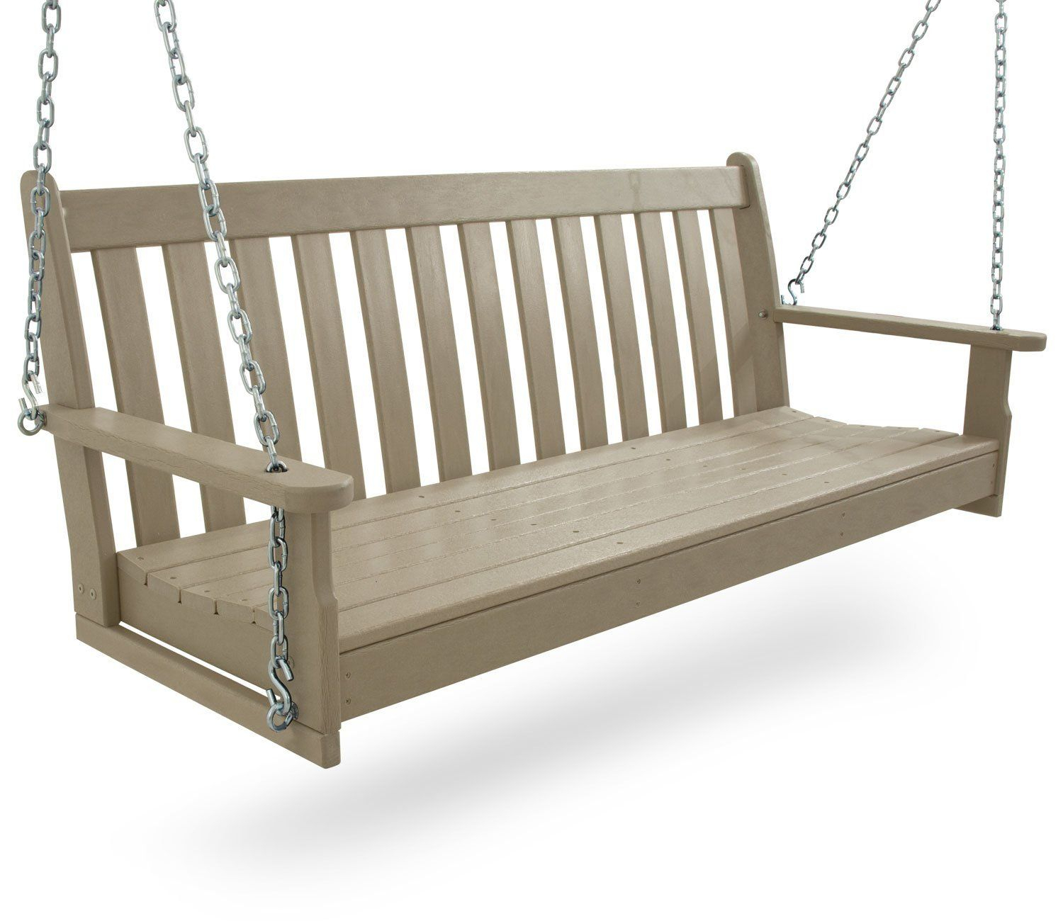 "Amazon : Polywood Gns60Wh Vineyard 60"" Swing, White With Vineyard Porch Swings (Image 1 of 25)"