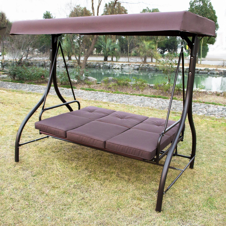 Amazon : Summer Promotion Outdoor Garden Yard Patio Regarding 3 Seats Patio Canopy Swing Gliders Hammock Cushioned Steel Frame (Image 2 of 25)