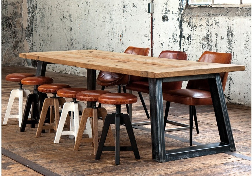 American Country Style Retro Industrial Design To Do The Old With Iron Wood Dining Tables (View 18 of 25)