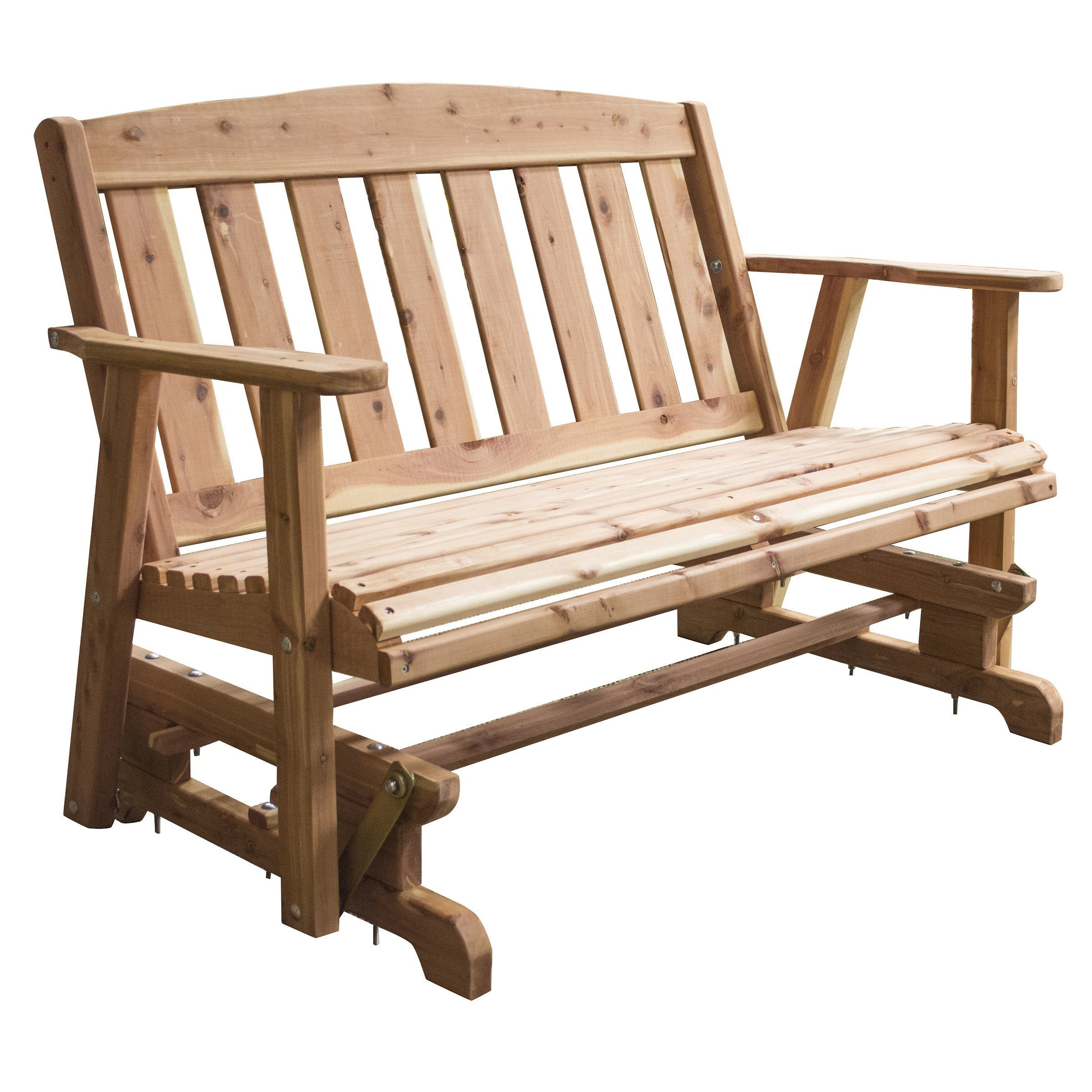 Amerihome Amish Made Glider Bench – Brown Inside 2 Person Natural Cedar Wood Outdoor Gliders (Image 5 of 25)